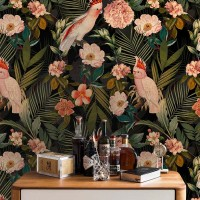 Pink Cockatoos Flowers And Palm Leaves – shiny night